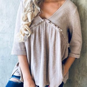 Tops - TAUPE BUTTON BACK TUNIC